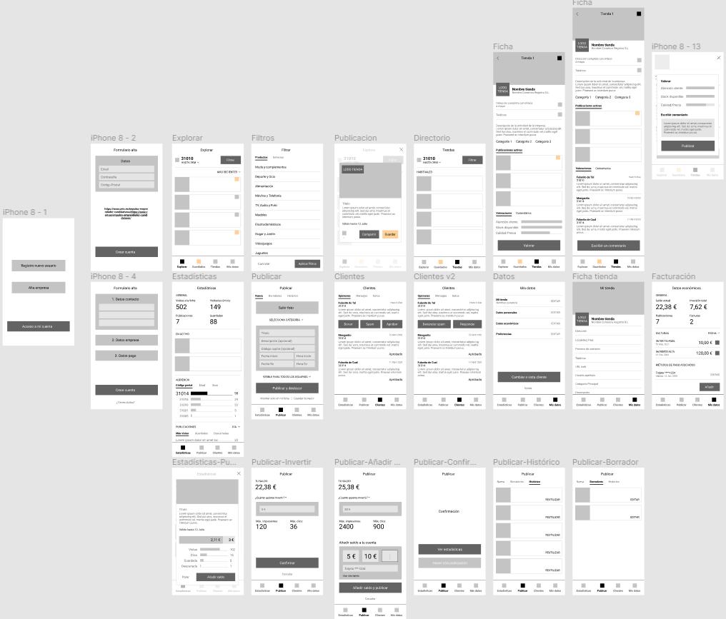 Estudio pantallas vista cliente y comerciante