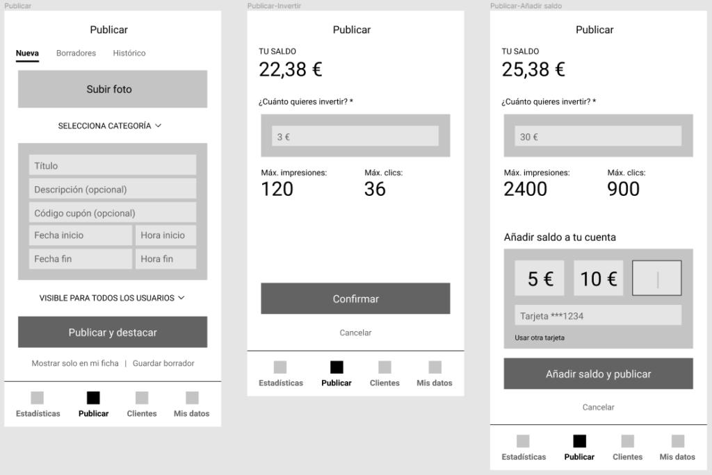Diseño pantallas de publicación